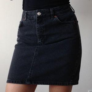 Topshop - Moto Black Denim Skirt